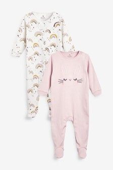 2 Pack Bunny Rainbow Sleepsuits (0mths-2yrs)