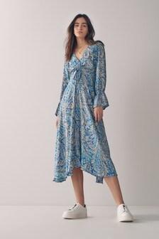 Платье миди с рюшами
