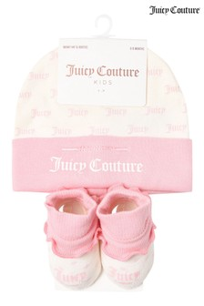 Juicy Couture Print Hat & Bootie Set