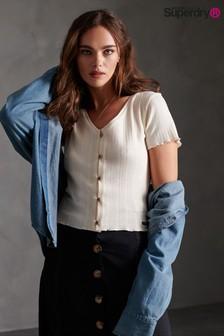 חולצת טי של Superdry דגם Button בלבן