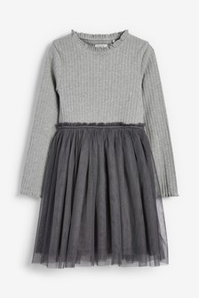 Ribbed Tulle Skirt Dress (3-12yrs)