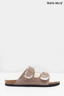 White Stuff Brown Phoebe Suede Footbed Slippers