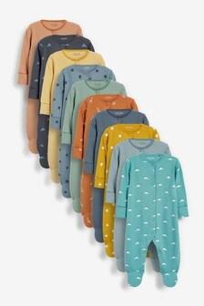 10 Pack Conversational Print Sleepsuits (0mths-2yrs)