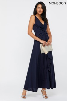 Monsoon Navy Jessie Jersey Twist V-Neck Maxi Dress