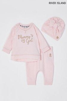 River Island Pink Mommys Girl Bobble Set