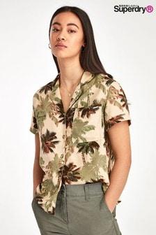 Superdry Brown Palm Print Shirt