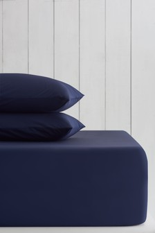 Navy Cotton Rich Extra Deep Fitted Sheet