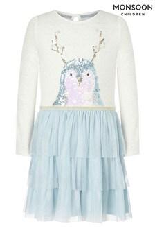 Monsoon Weihnachtliches Kleid mit Disco-Pinguindesign, Blau