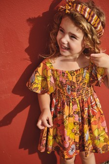 Geblümtes Kleid mit Knöpfen,Retro (3Monate bis 7Jahre)