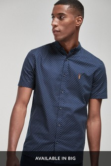 Polka Dot Slim Fit Short Sleeve Stretch Oxford Shirt
