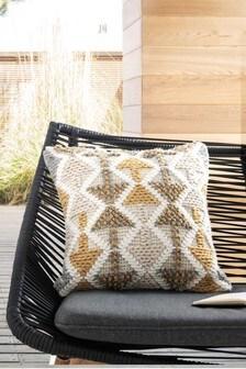 Indoor/Outdoor Recycled Borra Tufted Geo Cushion