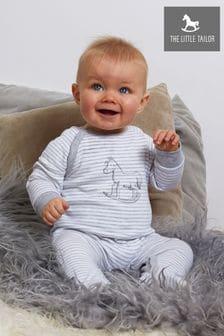 Pijama tipo pelele de punto de rayas grises con detalle de caballo balancín de The Little Tailor