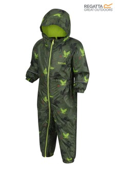 Regatta Green Little Adventurers Printed Splat Ii Waterproof Puddlesuit
