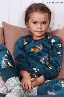 """Синяя пижама изсертифицированного органического хлопка GOTS с принтом """"Lady & The Tramp""""Polarn O. Pyret"""