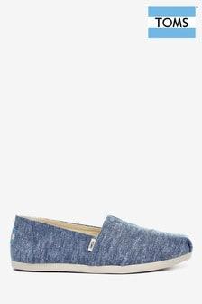 Синие меланжевые туфли на плоской подошве из ткани шамбре TOMS
