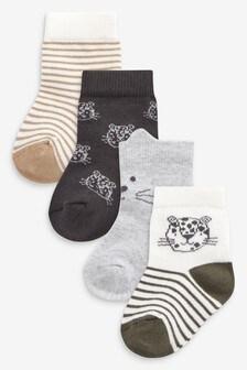 Socken mit Geparden-Print, 4er-Pack (Jünger)