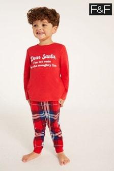 F&F Red Dear Santa Family Pyjamas