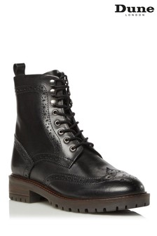 Dune London Purely Black Brogue Detail Ankle Boots