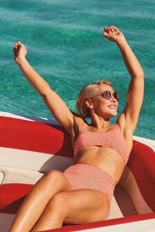 Emma Willis - Cropped gingham bikinitop