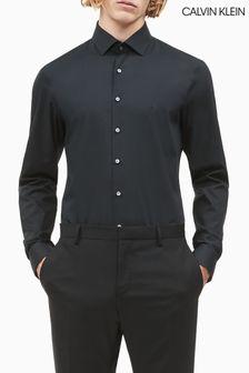Chemise Calvin Klein noire en popeline stretch coupe slim