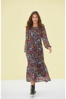 Сетчатое платье миди с длинными рукавами