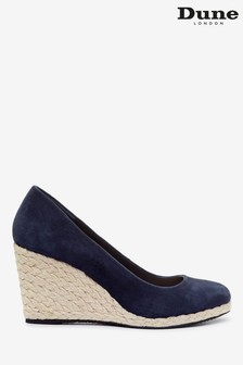 Dune London Blue Annabels Suede Heeled Wedge Shoes