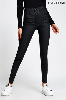 River Island Black High Rise Joyride Coated Jeans