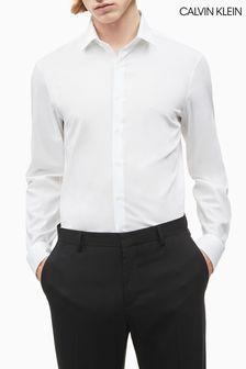 Calvin Klein White Slim Stretch Poplin Shirt