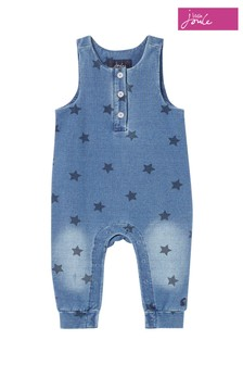Joules Blue Frankie Print Jersey Denim Dungarees