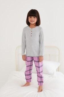 2 Pack Woven Bottom Cuffed Pyjamas (3-16yrs)