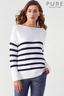 Pure Collection White Cotton Boat Neck Textured Sweater