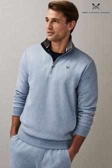 Crew Clothing Company ブルー インターロック ジップ スウェットシャツ