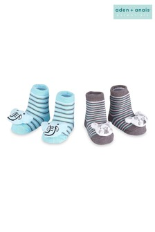 סט מתנה שני זוגות גרביים כחולים בהדפס פיל וזברה של aden + anais