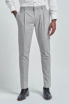 Patterned Cotton Stretch Pleated Chino Trousers