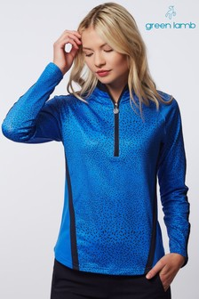 Green Lamb Blue Kalista Half Zip Printed Panels Top