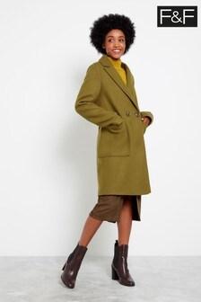 F&F Green Crombie Coat