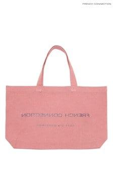 Geantă Shopper reversibilă din bumbac French Connection roz