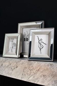 Silver Beaded Mirror Photo Frame