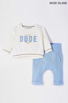 River Island Little Dude Sweatshirt-Set mit Applikation, Ecru