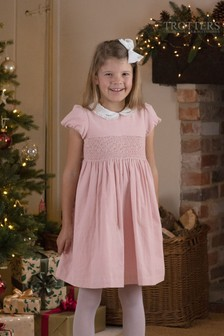 Trotters London Pink Orla Smocked Dress