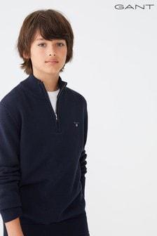 GANT Blue Casual Cotton Half Zip Jumper