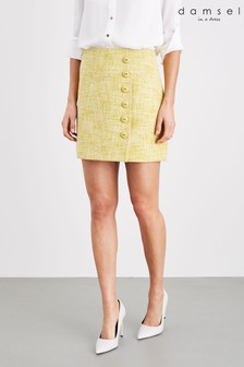 Damsel In A Dress Yellow Demelza Tweed Skirt