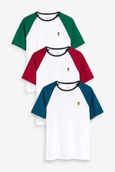 Colour Raglan T-Shirts Three Pack