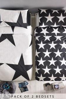 2 Pack Stars Duvet Cover And Pillowcase Set