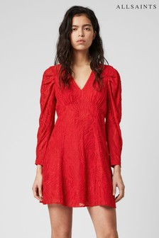 AllSaints Red Jacquard Rosi Dress