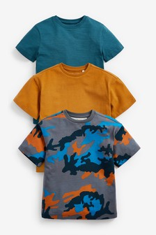 3 Pack Camouflage Short Sleeve T-Shirts (3-16yrs)