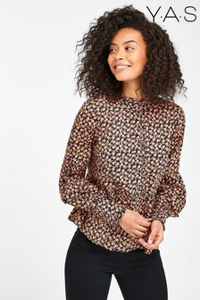 Y.A.S Sustainable Black Floral Nanna Blouse