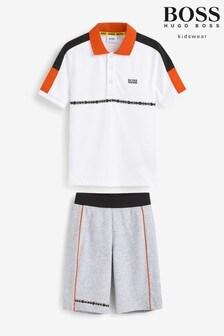 BOSS White/Grey Polo And Shorts Set