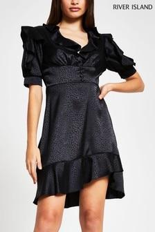שמלה לאחר הצהריים עם מלמלה של River Island בצבע שחור