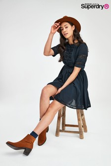Superdry Navy Ellison Textured Lace Dress